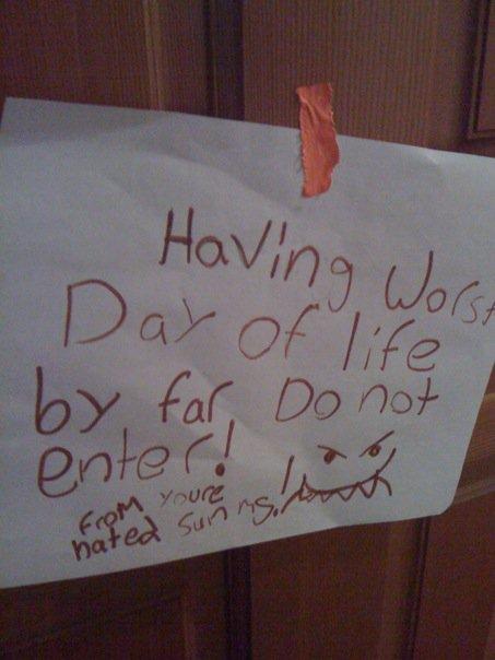 But. notes on bedroom doors   Stuff Kids Write