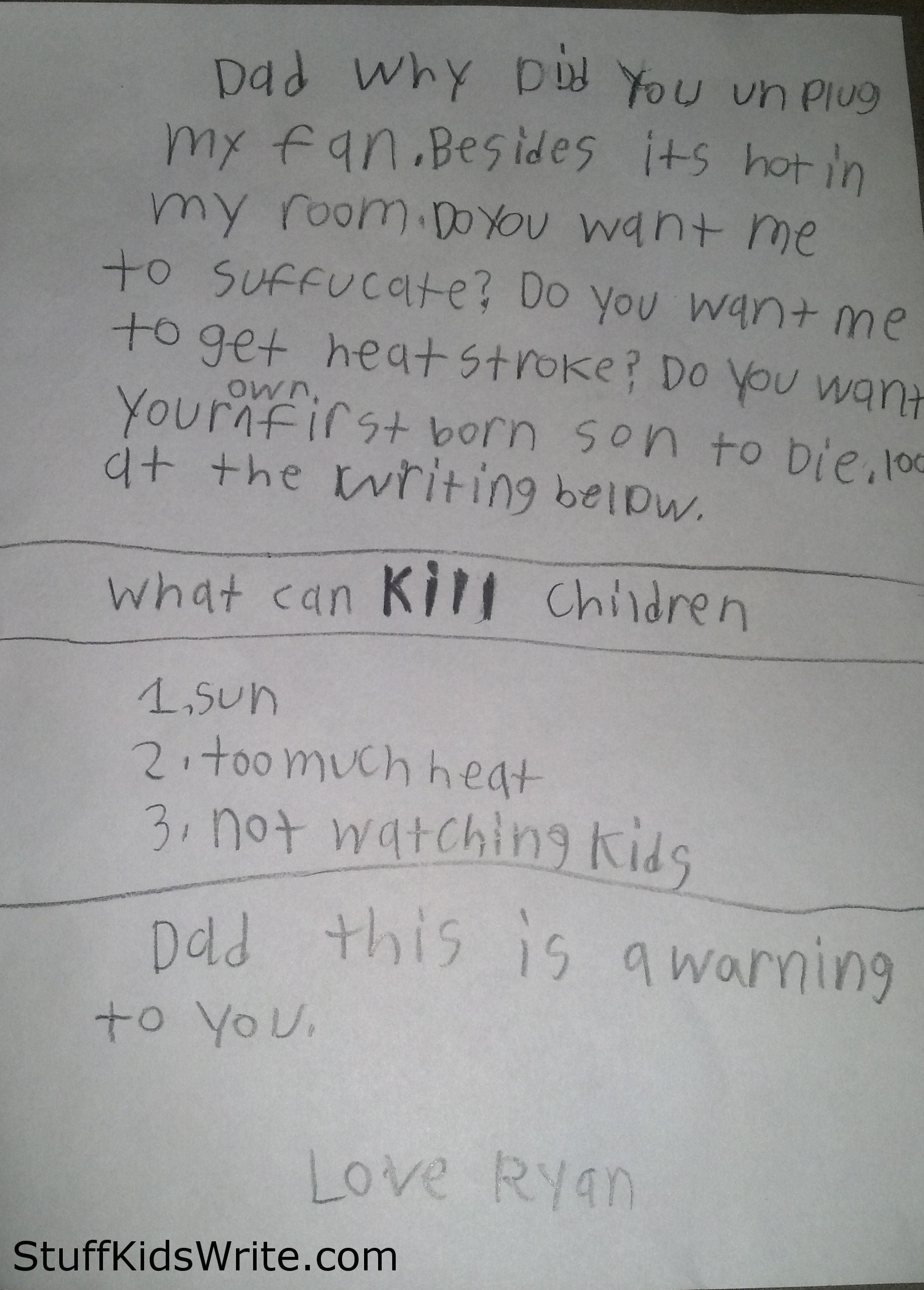 funny kids writing | Stuff Kids Writetara 9yo